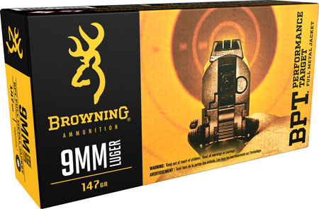 Browning Ammo B191800091 BPT Performance 9mm Luger 147 GR Full Metal Jacket 50 Bx/ 10 Cs