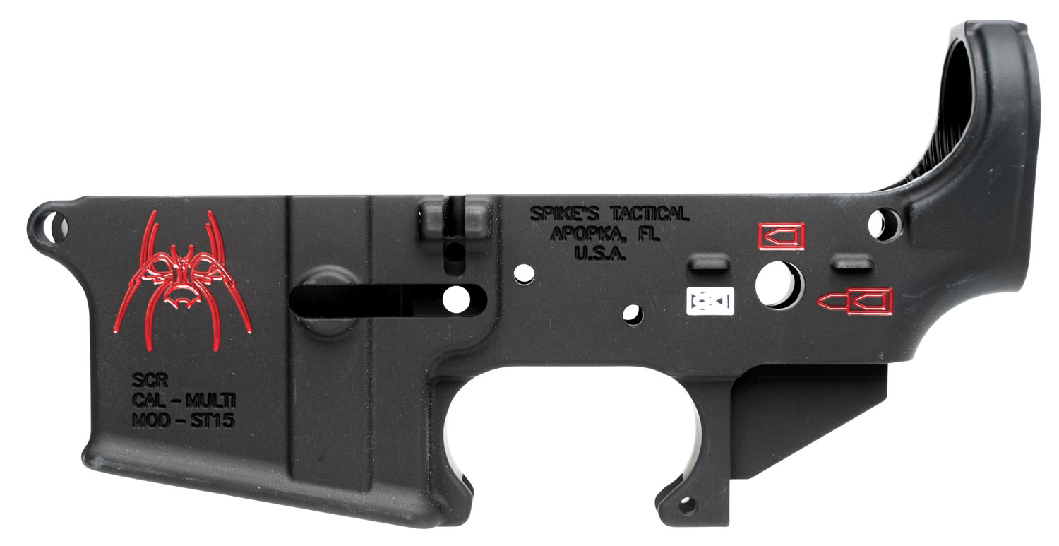 Spikes STLS019CFA Stripped Lower Spider with Red Color Fill AR-15 Rifle Multi-Caliber Black Hardcoat Anodized/Color Fill
