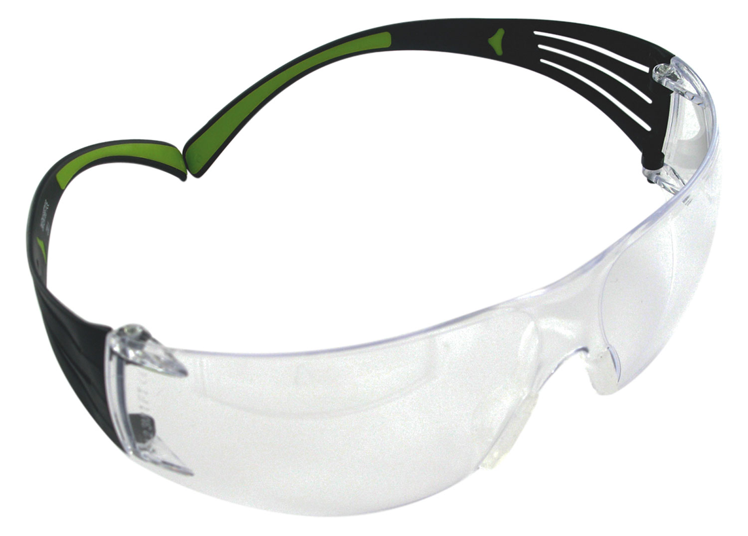 3M Peltor SF400PC8  Sport SecureFit 400 Shooting/Sporting Glasses Black/Green Frame Clear Polycarbonate Lens 1 Pair