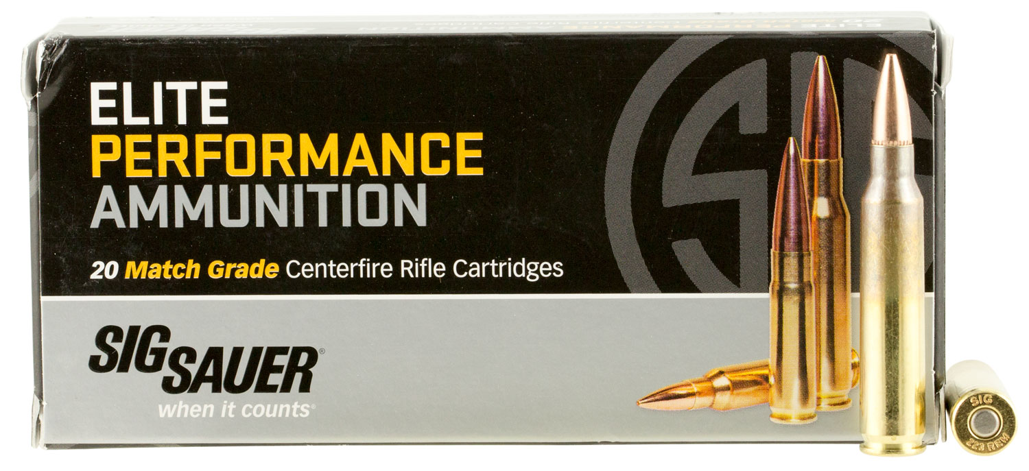 Sig Sauer E223M120 Match Grade 223 Remington/5.56 NATO 77 GR Open Tip Match 20 Bx/ 25 Cs