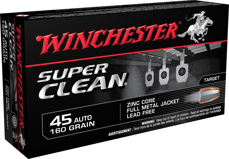 Winchester Ammo W45LF Super Clean 45 ACP 165 GR FMJ 50 Bx/ 10 Cs