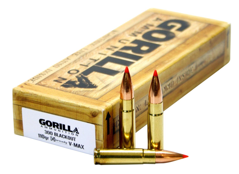 GORILLA AMMUNITION GA300110VMAX Gorilla Match 300 AAC Blackout/Whisper (7.62X35mm) 110 GR V-Max 20 Bx/ 10 Cs