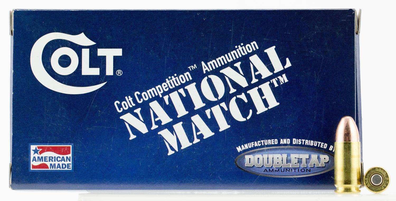 Colt Ammo 9M124FMJCT National Match 9mm Luger 124 GR Full Metal Jacket 50 Bx/ 20 Cs