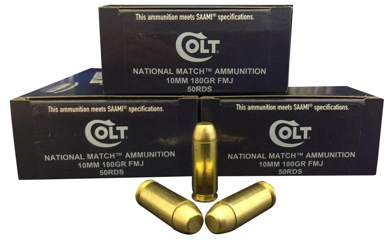 Colt Ammo 10M180FMJCT National Match 10mm Automatic 180 GR FMJ 50 Bx/ 20 Cs