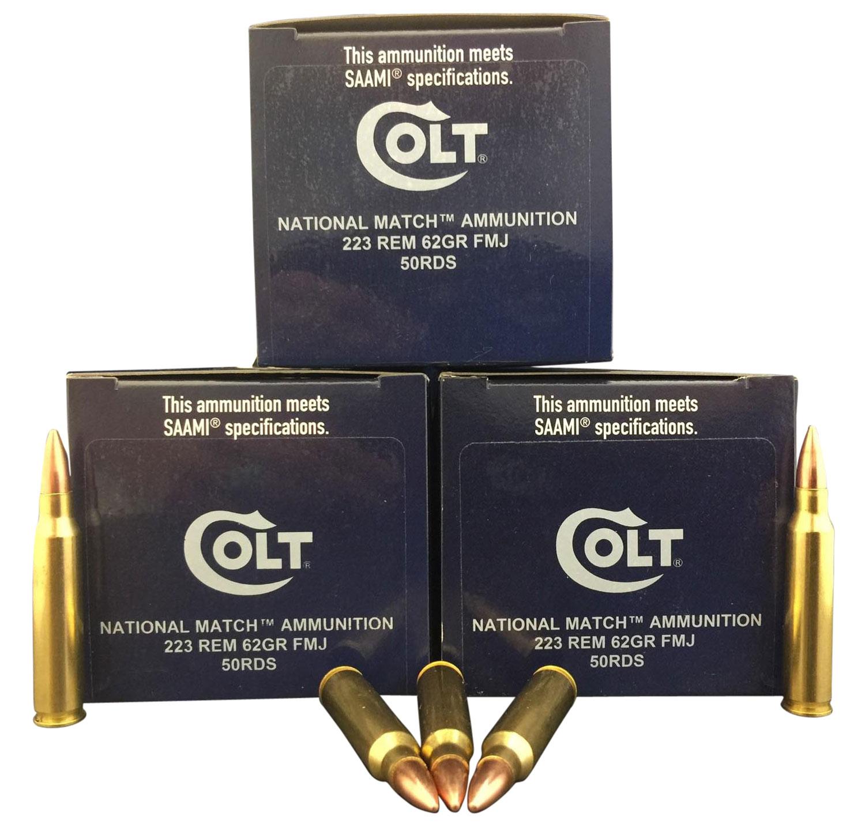 Colt Ammo 223R62FMJCT National Match 223 Rem/5.56 NATO 62 GR FMJ 50 Bx/ 20 Cs