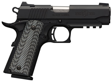 Browning 051911492 1911-380 Black Label Pro Compact with Rail Single 380 Automatic Colt Pistol (ACP) 3.625