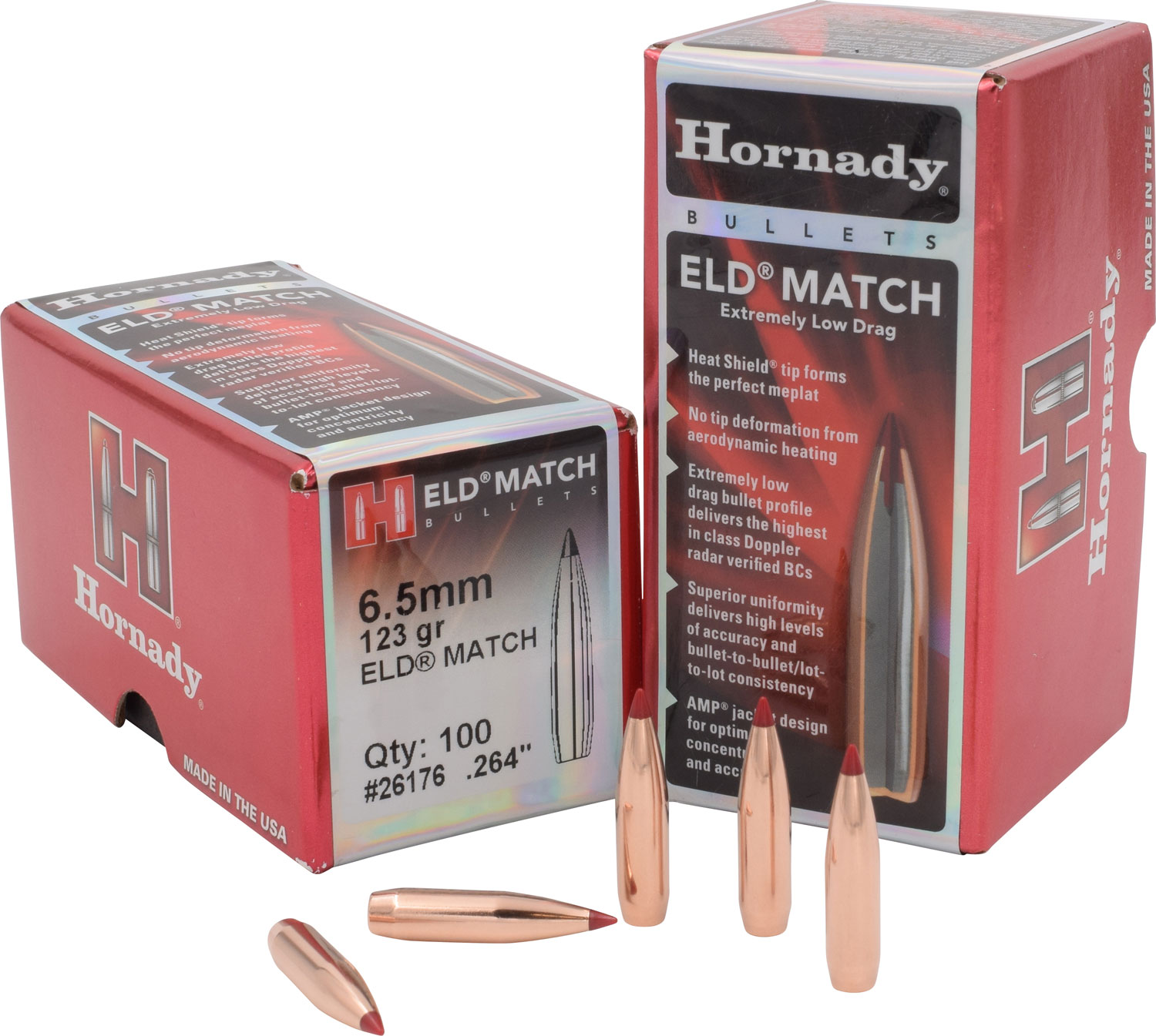 Hornady 26176 ELD Match   6.5mm .264 123 GR 100 Box