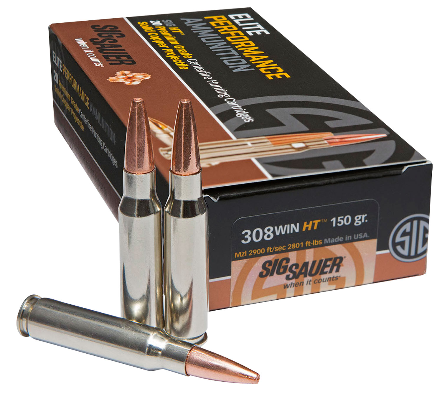 Sig Sauer E308H120 Hunting 308 Winchester/7.62 NATO 150 GR Lead-Free 20 Bx/ 10 Cs