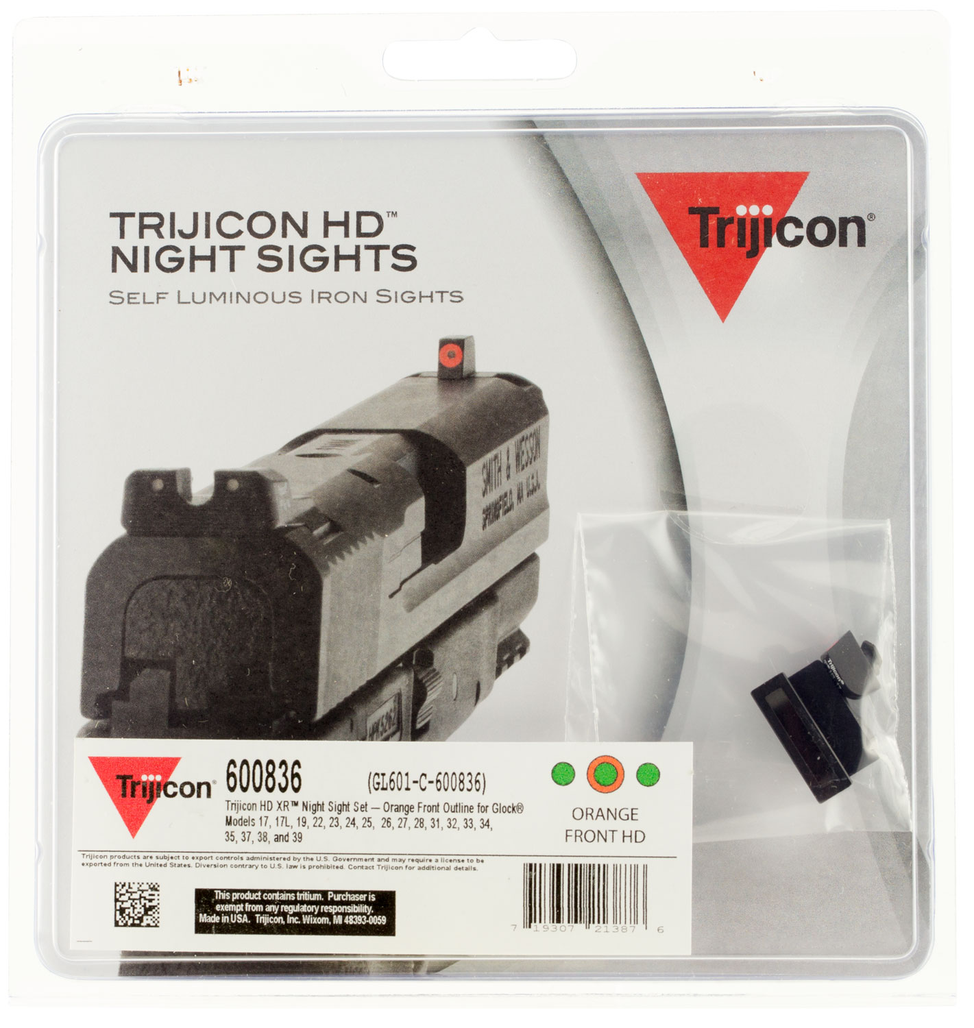 Trijicon 600836 HD Night Sights Glock 17/17L/19/22-28/31-35/37-39  Orange