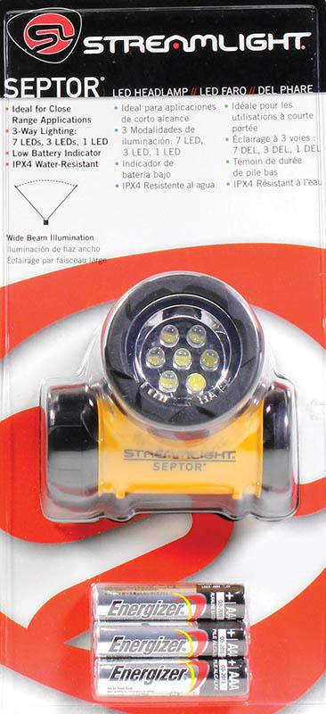 Streamlight 61052 Septor Headlamp LED 13/45/120 Lumens AAA (3) ABS Yellow/Black