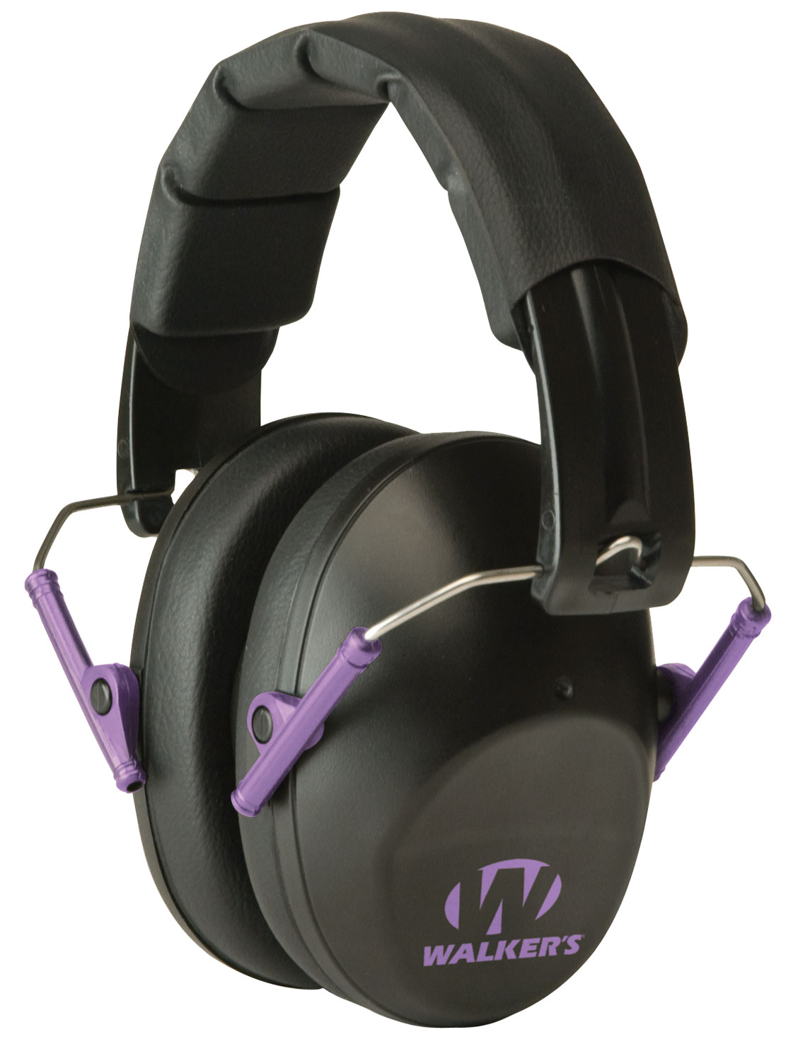 Walkers GWPFPM1BKPU Pro Low Profile Folding Muff Earmuff 22 dB Black/Purple