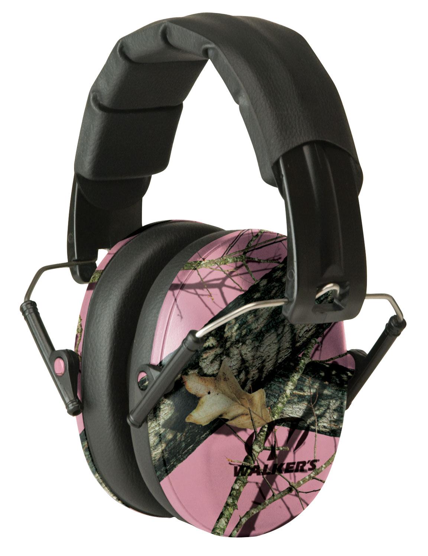 Walkers GWPFPM1PKMO Pro Low Profile Folding Muff Earmuff 22 dB Pink Mossy Oak