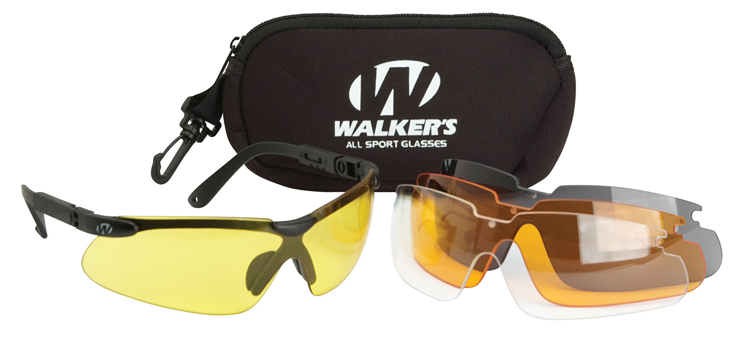 Walkers GWPASG4L2 Sport Glasses Interchangeable Lens Black Polymer Frame Polycarbonate Lenses Clear/Yellow/Amber/Brown