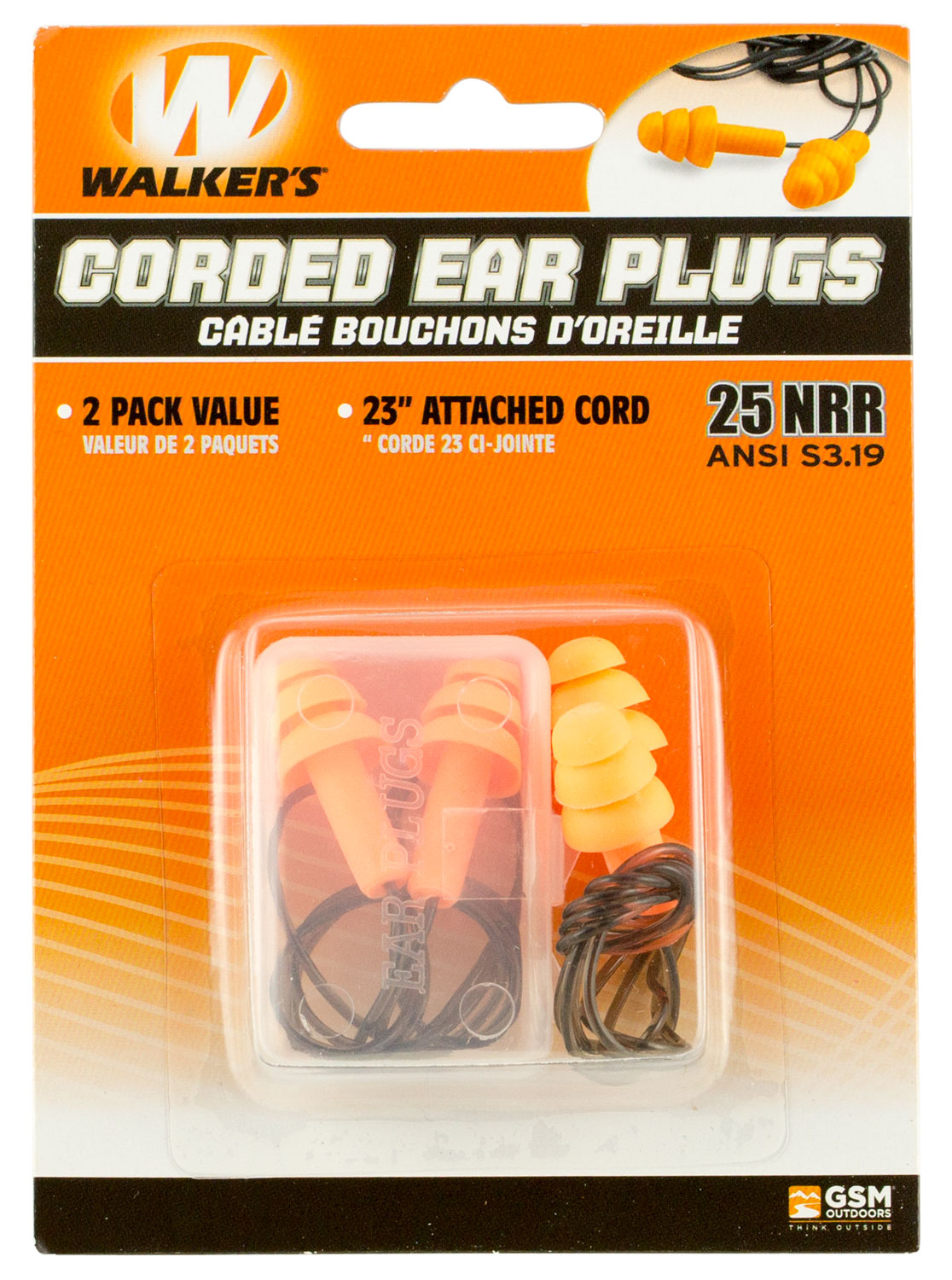 Walkers GWPEPCORD2PK Corded Foam Ear Plugs Earplugs 25 dB Orange