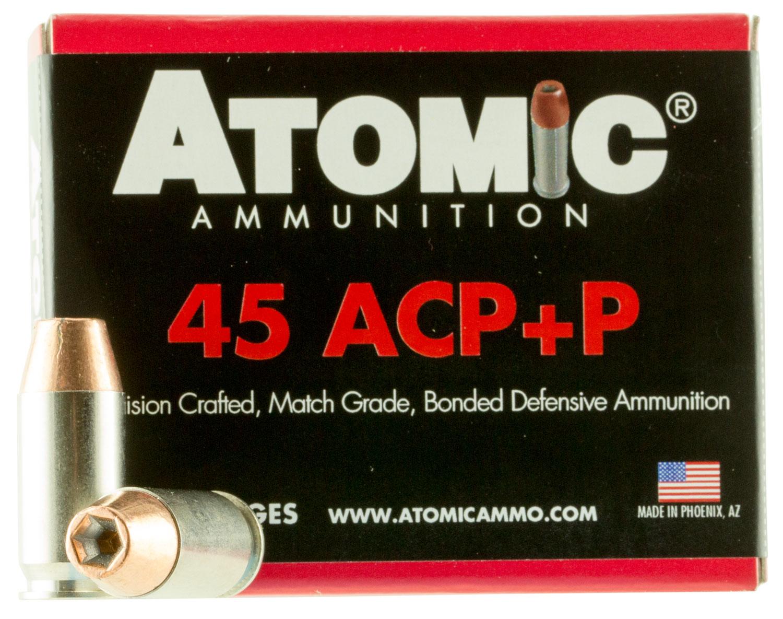 Atomic 00458 Defense 45 Automatic Colt Pistol (ACP) +P 185 GR Bonded Match Hollow Point 20 Bx/ 10 Cs