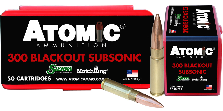 Atomic 00465 Subsonic 300 AAC Blackout/Whisper (7.62X35mm) 220 GR HPB Tail 50 Bx/ 10 Cs