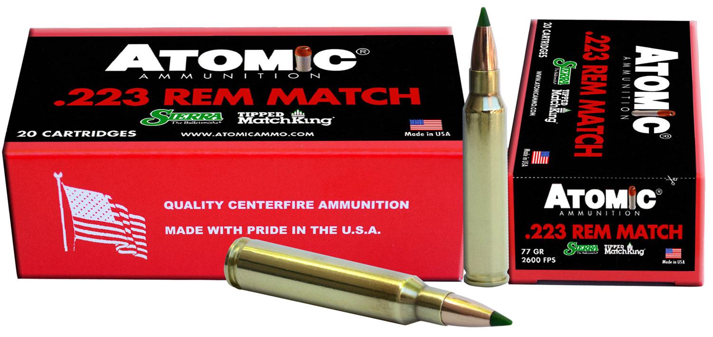 Atomic 00459 Match 223 Remington/5.56 NATO 77 GR Tipped MatchKing 20 Bx/ 10 Cs
