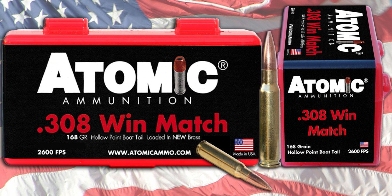 Atomic 00460 Match 308 Winchester/7.62 NATO 168 GR Tipped MatchKing 20 Bx/ 10 Cs