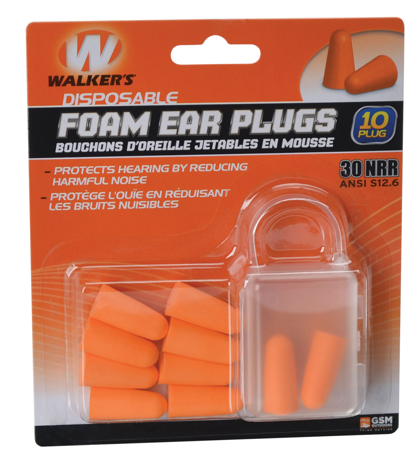 Walkers GWPFP5PK Foam Ear Plugs 5 Pack Earplugs 30 dB Orange