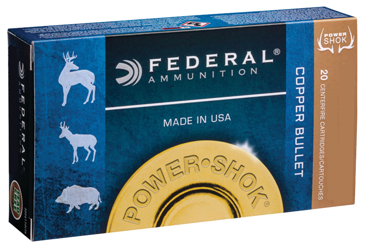 Federal 300BLK150LFA Power-Shok Rifle  300 AAC Blackout/Whisper (7.62x35mm) 120 GR Copper Hollow Point 20 Bx/ 25 Cs