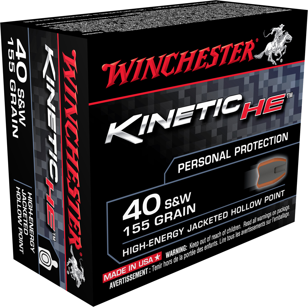 Winchester Ammo HE40JHP Kinetic High Energy 40 Smith & Wesson 155 GR Jacketed Hollow Point 20 Bx/10 Cs