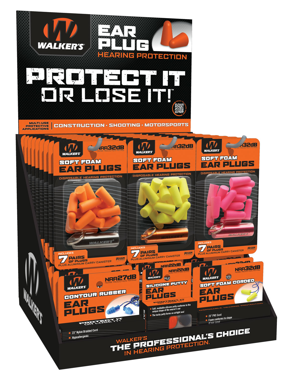 Walkers GWPPLUGDIS Foam Ear Plugs Counter Display Display w/Product 58 Pieces Counter Top