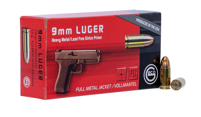 292240050 FMJ Geco  9mm Luger 115 GR Full Metal Jacket 50 Bx/20 Cs