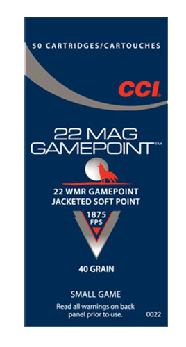 CCI 0022 Small Game GamePoint  22 Winchester Magnum Rimfire (WMR) 40 GR Jacketed Soft Point 50 Bx/ 40 Cs