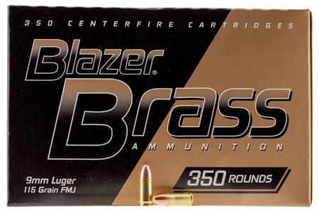CCI 52001 Blazer Brass  9mm Luger 115 GR Full Metal Jacket Round Nose 350 Bx/ 3 Cs