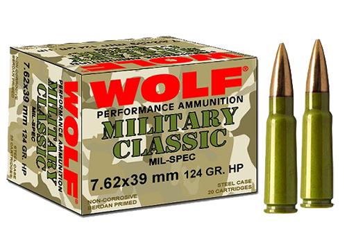 Wolf MC762BFMJ Military Classic 7.62x39mm 124 GR Full Metal Jacket 20 Bx/ 50 Cs 1000 Total