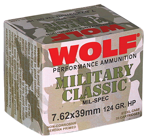 Wolf MC762BHP Military Classic Steel Case 7.62X39mm 124 GR Hollow Point 20 Bx/ 50 Cs  1000 Total