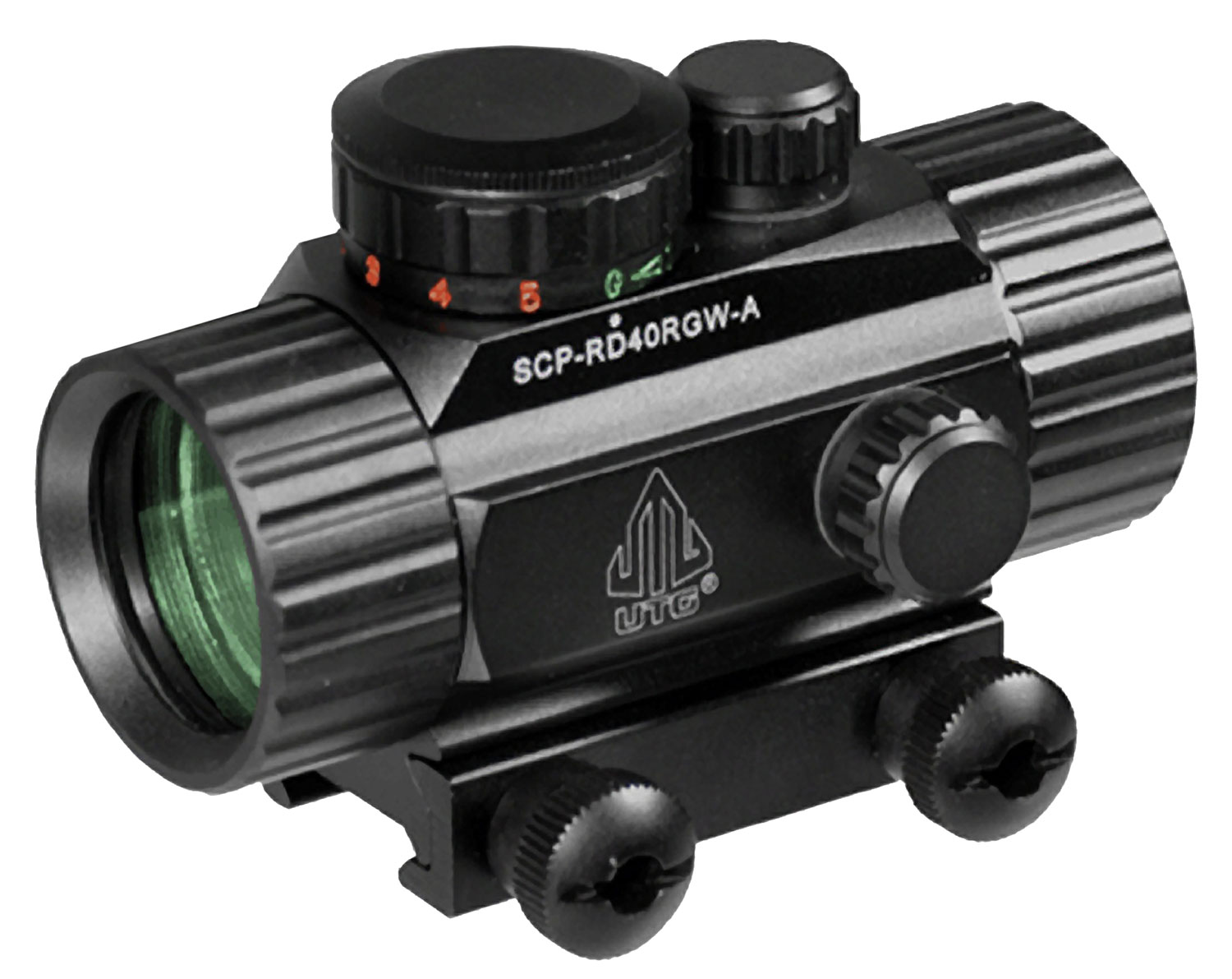 UTG SCP-RD40RGW CQB Dot Sight 1x 30mm Obj Unlimited Eye Relief 4 MOA Black
