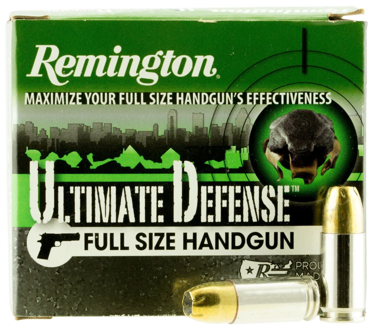 Remington Ammunition HD9MMD Ultimate Defense Full Size  9mm Luger +P  124 GR Brass Jacket Hollow Point 20 Bx/ 25 Cs