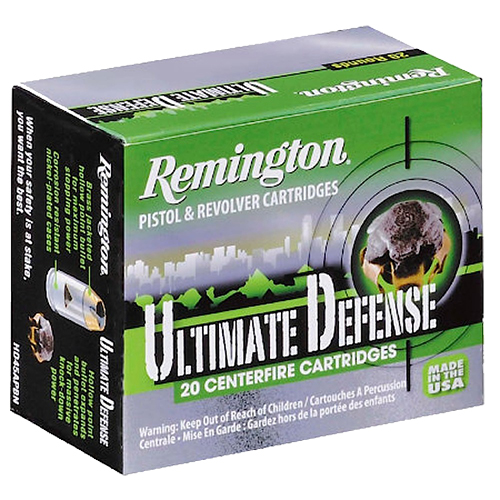 Remington Ammunition HD40SWA Ultimate Defense Full Size Handgun 40 Smith & Wesson (S&W) 165 GR Brass Jacket Hollow Point 20 Bx/ 25 Cs