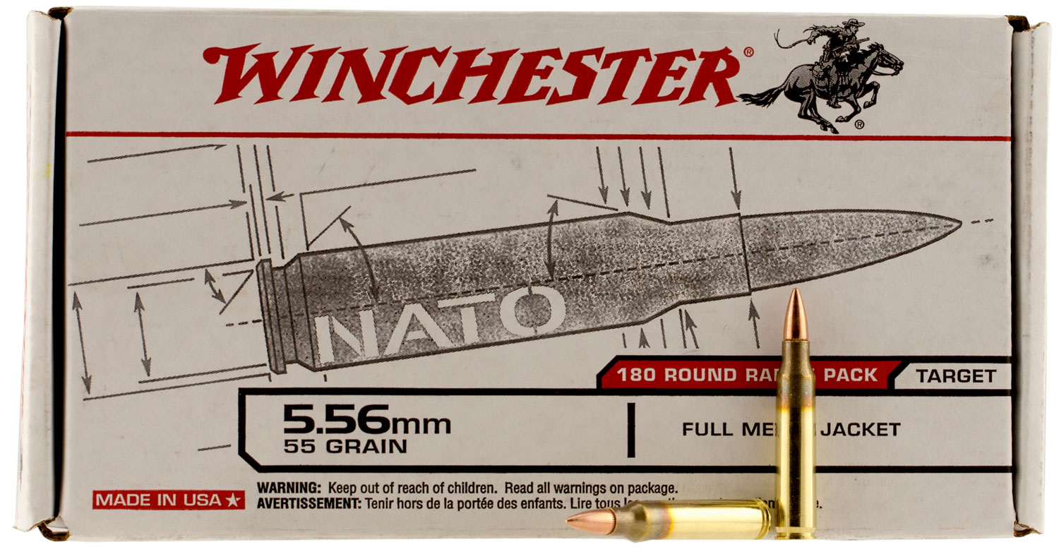 Winchester Ammo USA3131W USAW Rifle  223 Remington/5.56 NATO 55 GR Full Metal Jacket 180 Bx/ 5 Cs
