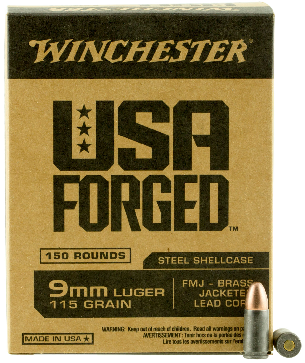 Winchester Ammo WIN9S USA Forged   9mm Luger 115 GR Full Metal Jacket 150 Bx/ 5 Cs