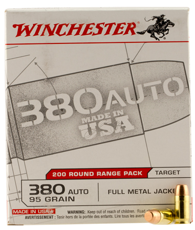Winchester Ammo USA380W USA White Box  380 Automatic Colt Pistol (ACP) 95 GR Full Metal Jacket Flat Nose 200 Bx/ 5 Cs