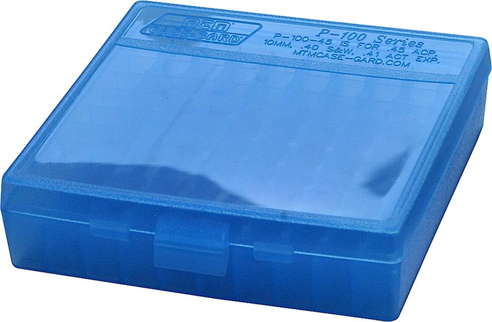 MTM Case-Gard P-100-9-24 Case-Gard P-100 9mm Luger Handgun Clear Blue Polypropylene 100rd