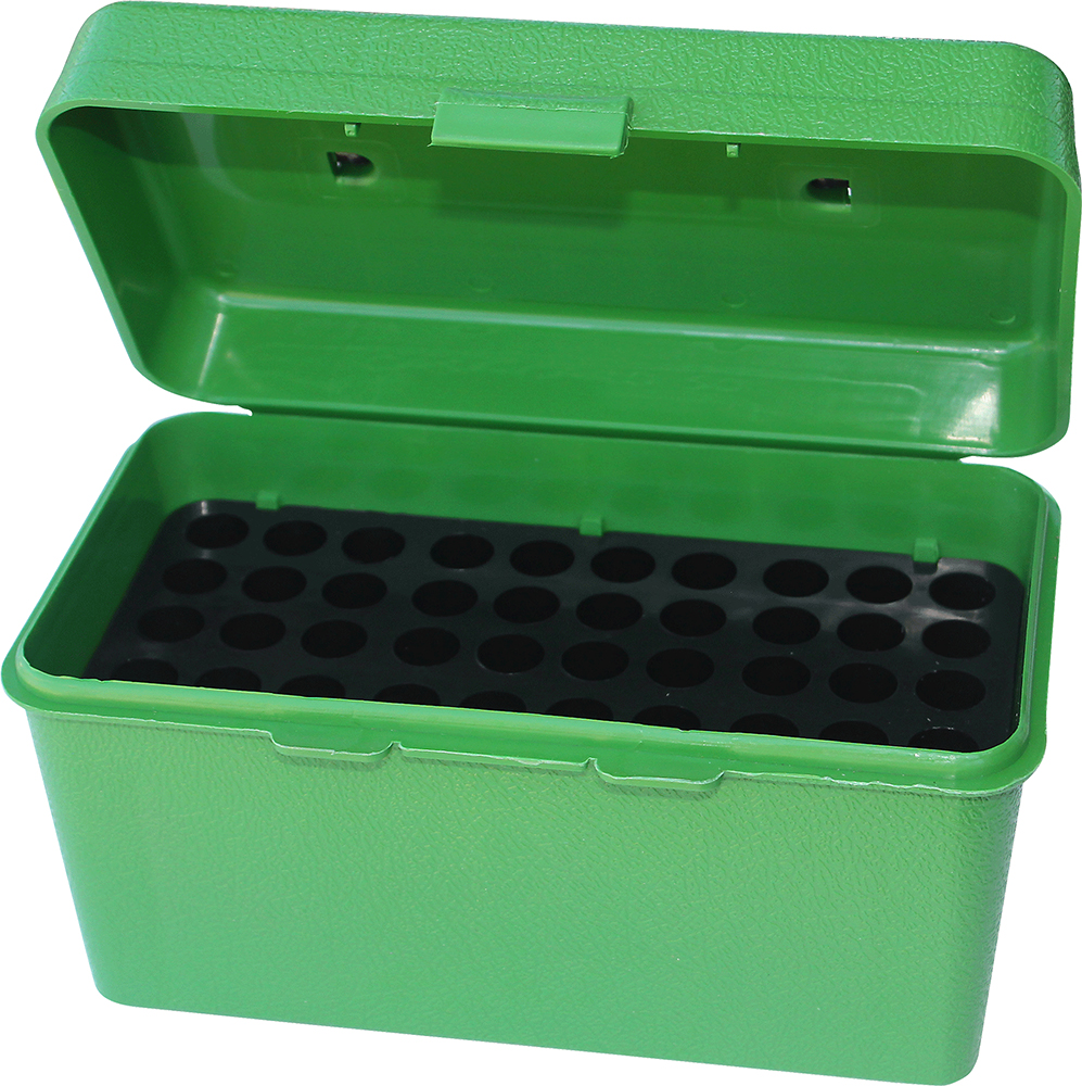 MTM Deluxe Handled Rifle Ammo Case  <br>  Medium Rifle Green 50 rd.