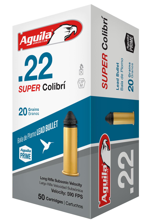 Aguila 1B222339 Super Colibri 22 Long Rifle (LR) 20 GR Colibri SubSonic Lead 50 Bx/ 100 Cs