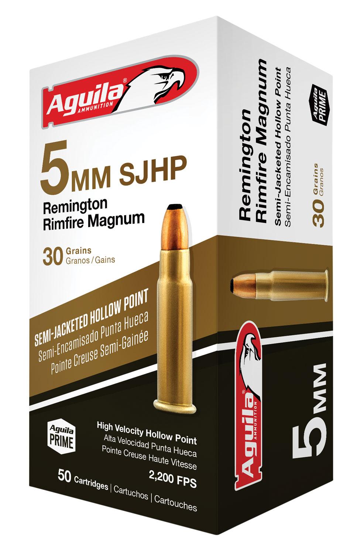 Aguila 1B222405 5mm Remington Rimfire Magnum (RFM) 30 GR Hollow Point 50 Bx/ 20 Cs