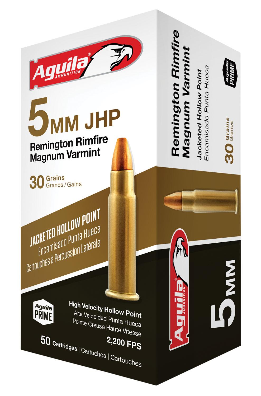 Aguila 1B222406 5mm Remington Rimfire Magnum (RFM) 30 GR Jacketed Hollow Point 50 Bx/ 20 Cs