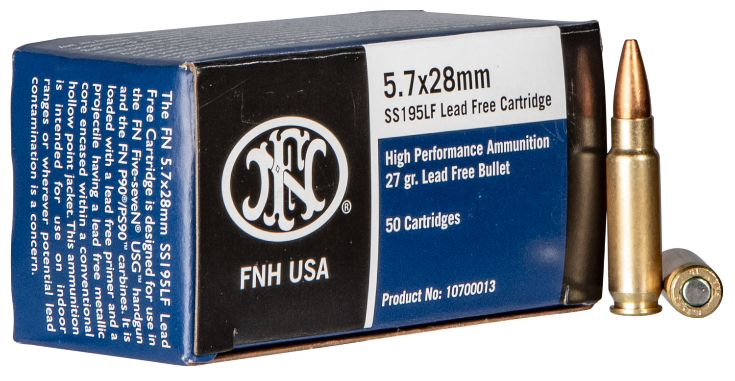 FN 10700019 SS195LF  5.7mmX28mm 27 GR Lead-Free Hollow Point 2000 Round Case