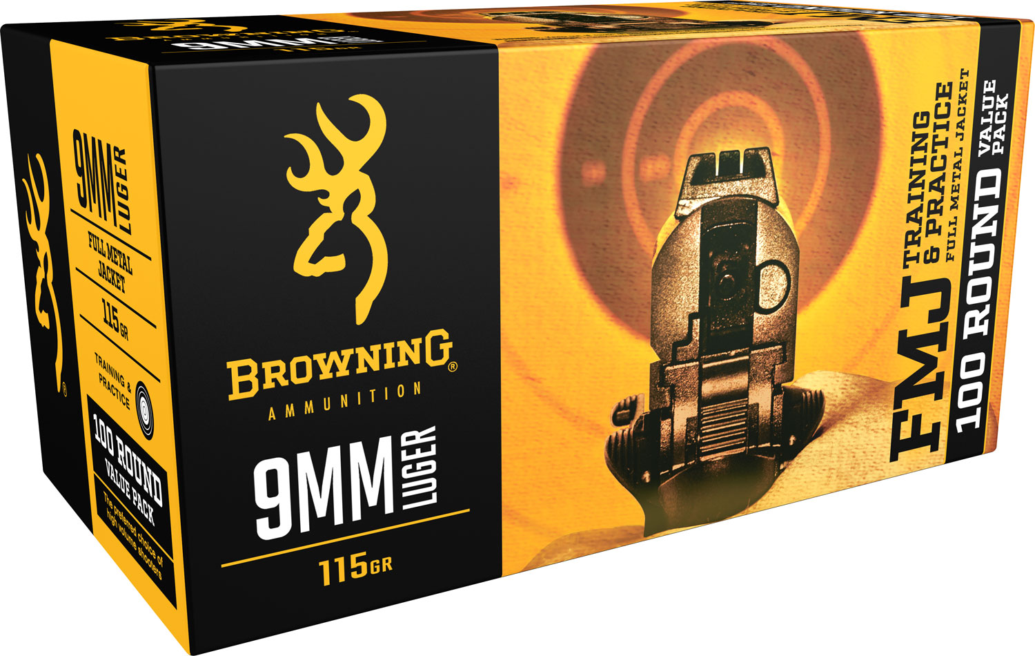 Browning Ammo B191800094 Training & Practice 9mm Luger 115 GR Full Metal Jacket 100 Bx/ 5 Cs