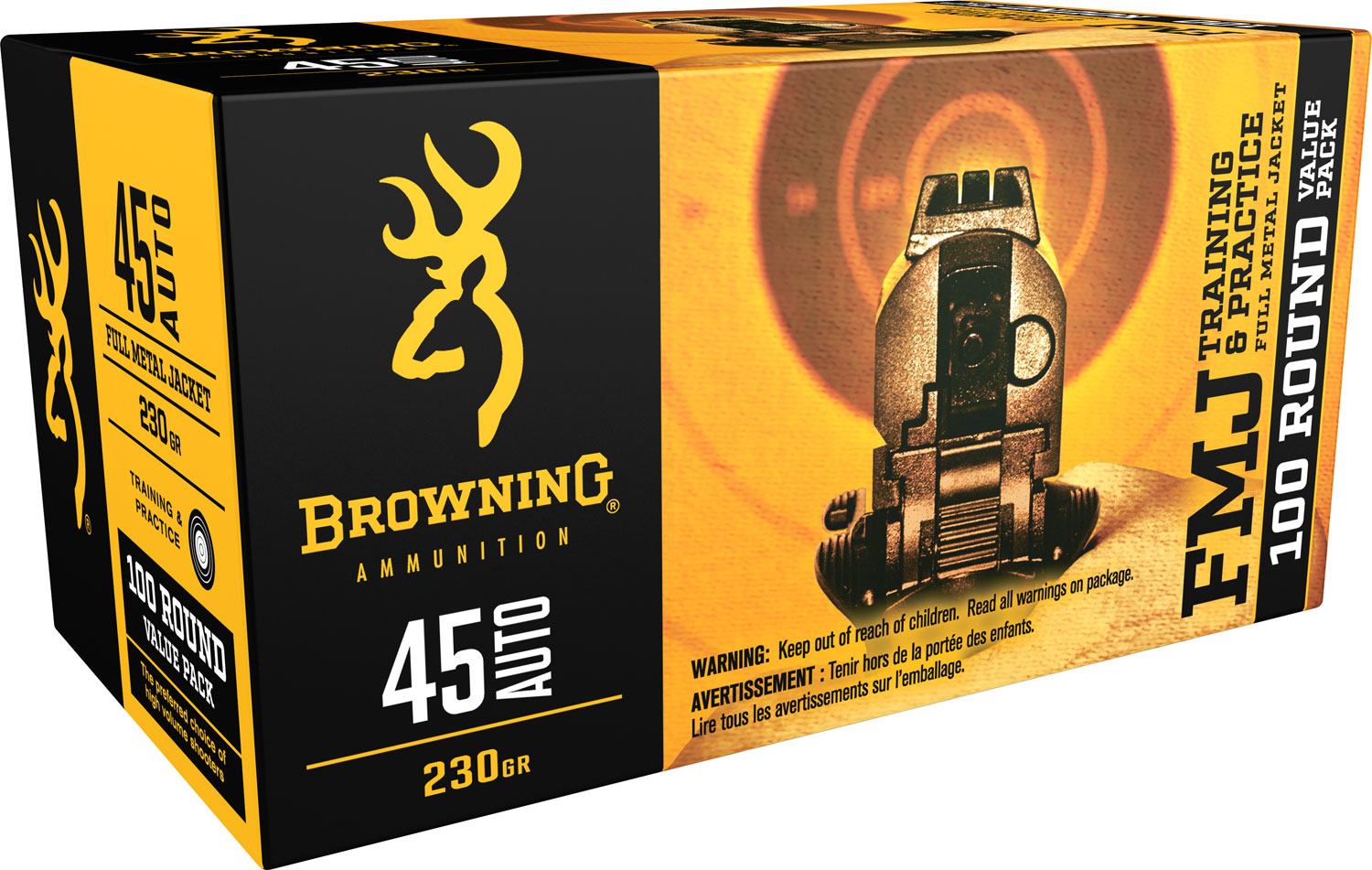 Browning Ammo B191800454 Training & Practice 45 Automatic Colt Pistol (ACP) 230 GR Full Metal Jacket 100 Bx/ 5 Cs