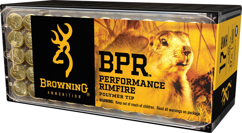 Browning Ammo B195117050 BPR Performance 17 Hornady Magnum Rimfire (HMR) 17 GR Polymer Tip 50 Bx/ 20 Cs