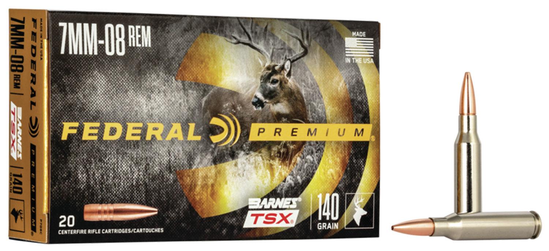 Federal P708C Premium   7mm-08 Remington 140 GR Barnes Triple-Shock X Bullet (TSX) 20 Bx/ 10 Cs