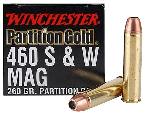 Winchester Ammo SPG460SW Supreme 460 Smith & Wesson Magnum 260 GR Partition Gold 20 Bx/ 10 Cs