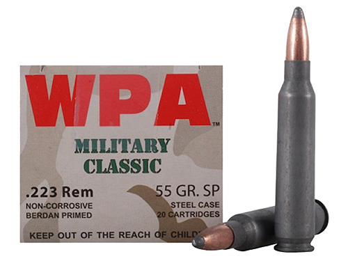 Wolf MC22355SP Military Classic Rifle 223 Remington/5.56 NATO 55 GR Soft Point 20 Bx/ 25 Cs 500 Total (Case)