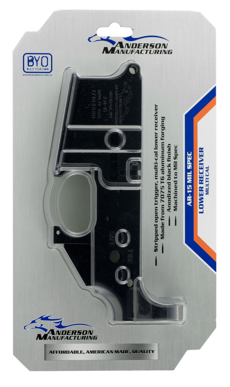 Anderson D2K067A000OP AR-15 Stripped Lower AR-15 AR Platform Multi-Caliber Black Hardcoat Anodized